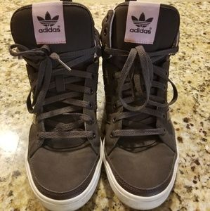 Adidas Brown and Pink high tops. Womens size 9